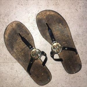 Michael Kors Cute Gold Black Logo Sandals Size 10